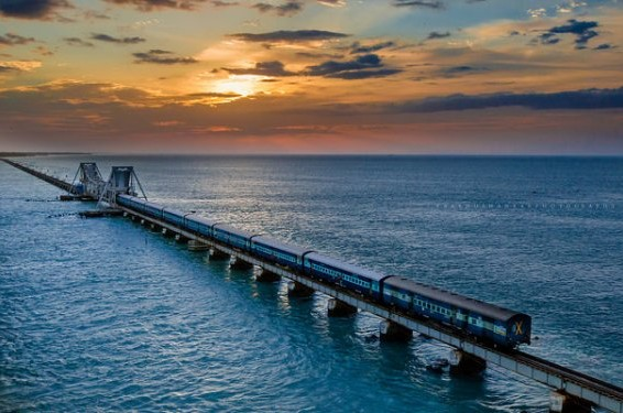 Mandapam Pamban Rameswaram sea bridge
